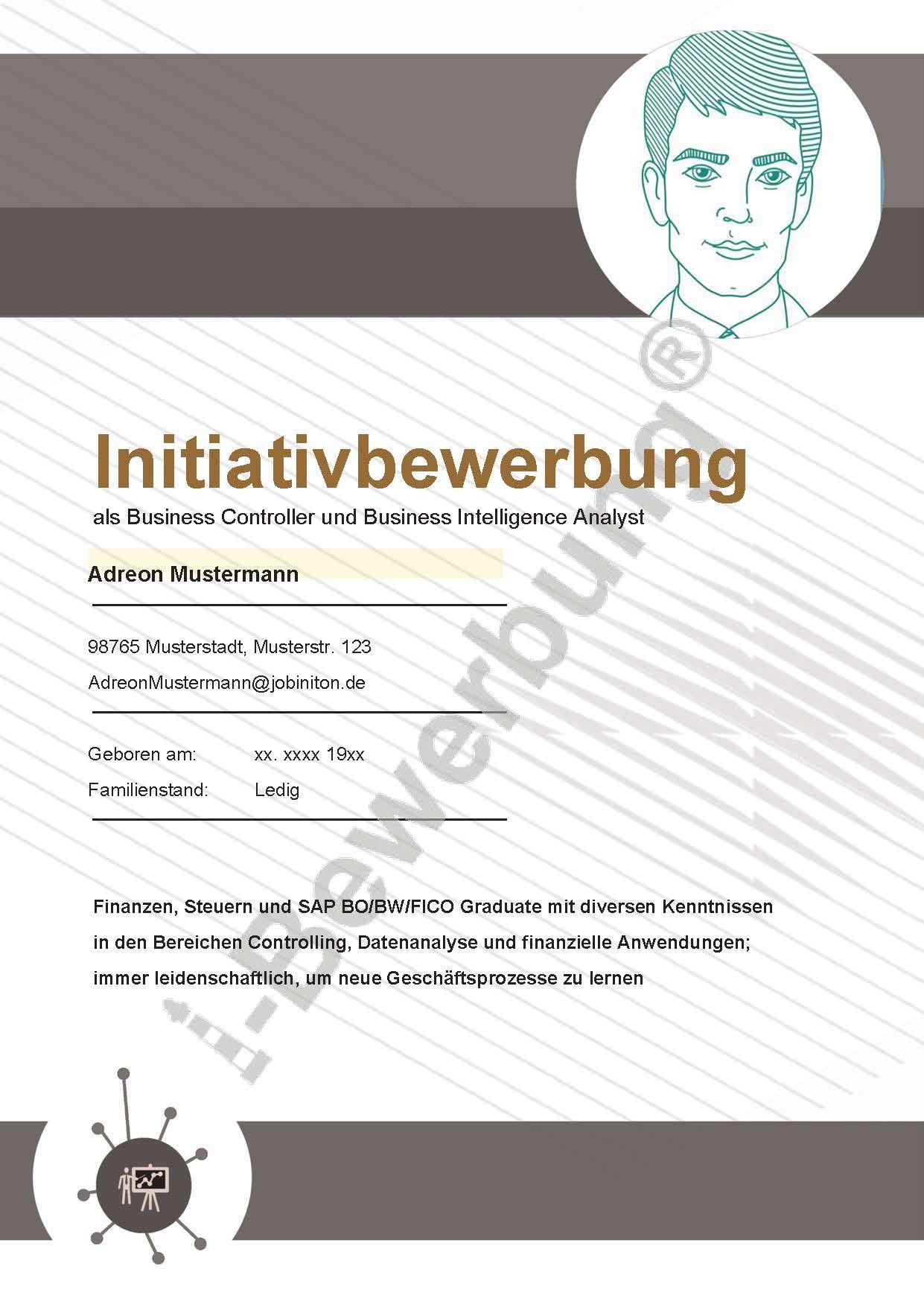 Deckblatt Zur Initiativbewerbung Als Business Controller Adreon 616 Deckblatt Deckblatt Vorlage Bewerbungsunterlagen