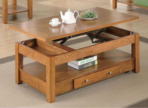 Merveilleux Amber Finished Oak Lift Top Coffee Table 701438