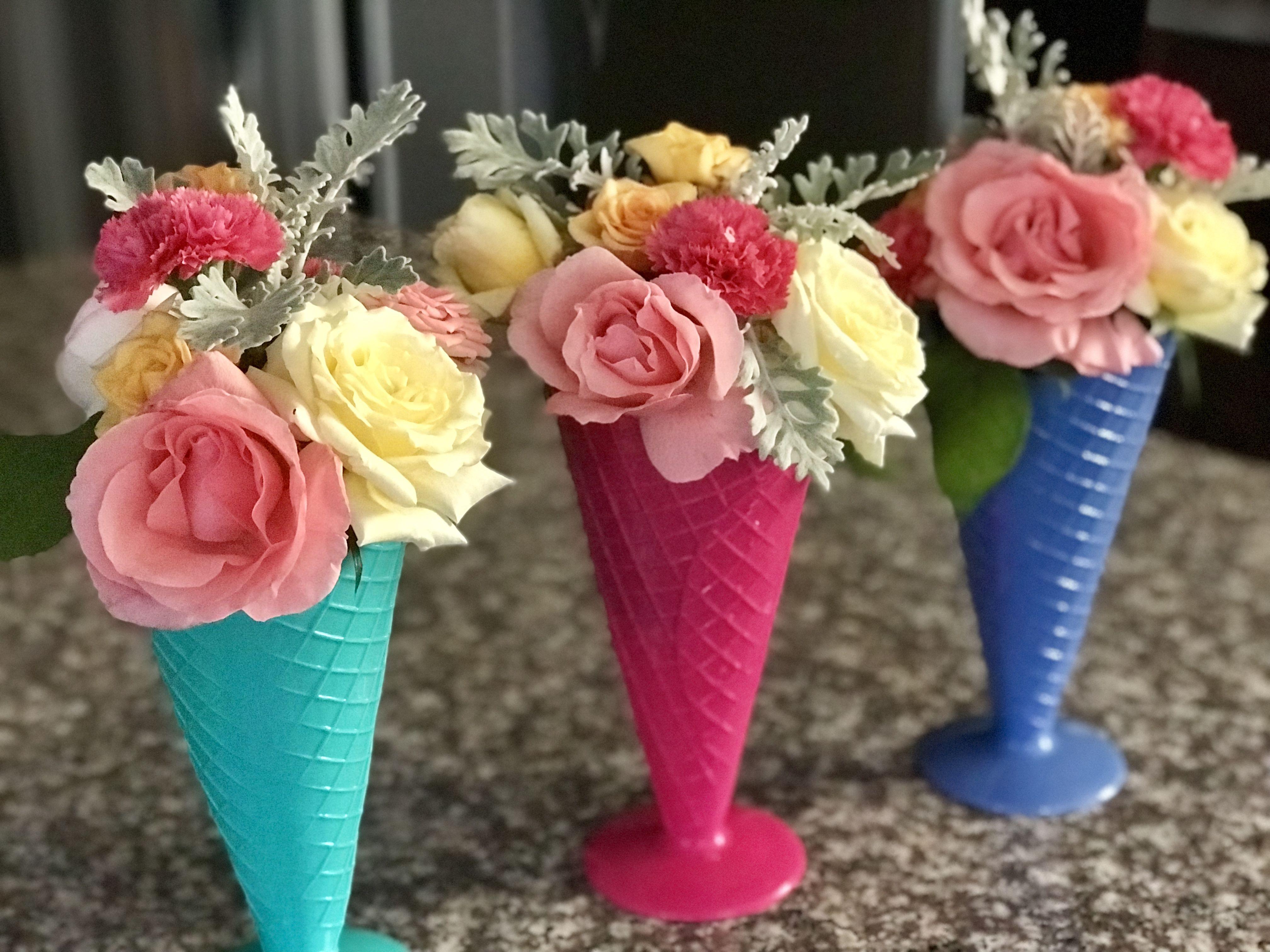 Flower Ice Cream Cone Flower Ice Small Flower Arrangements Creative Flower Arrangements