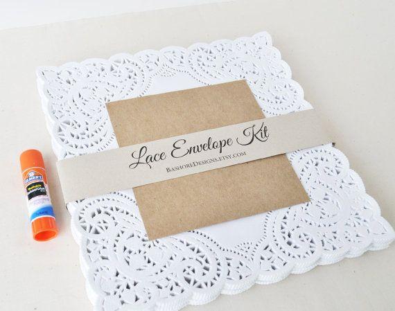 SAMPLE Lace Envelope Kit Wedding Invitation Envelope by HarvestCo - sample envelope liner template