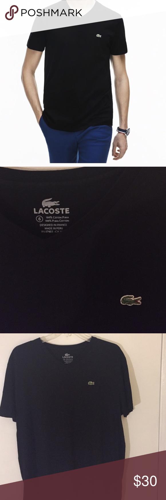 a920d47175f Men s Lacoste V-Neck Cotton T-Shirt - Large Great short sleeve t ...