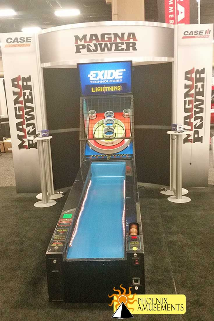 Awesome booth design built with Skeeball as a traffic builder for their tradeshow booth.  Customed header featuring client's logo!