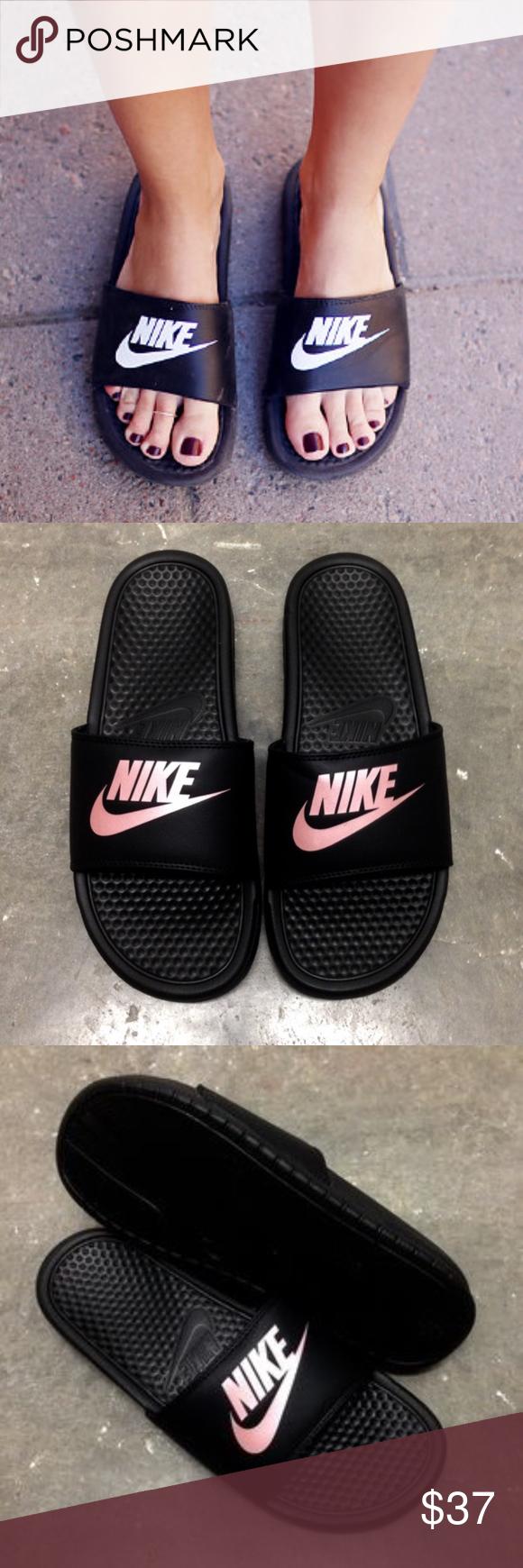 3b4759dfee41 WMNS NIKE BENASSI SLIDES JUST DO IT JDI BLACK ROSE Nike benassi slides