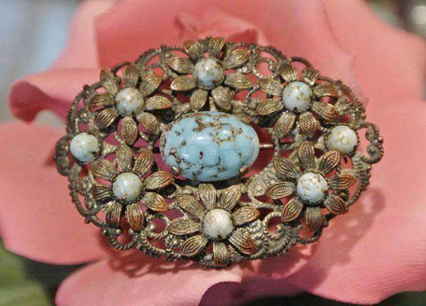 a40d976e5 Czecho Brooch Faux Turquoise 1920s Art Deco Czechoslovakia Czech Brooch  Glass Cabs Metal Filigree Flower Floral Brooch Pin Antique Flapper $49