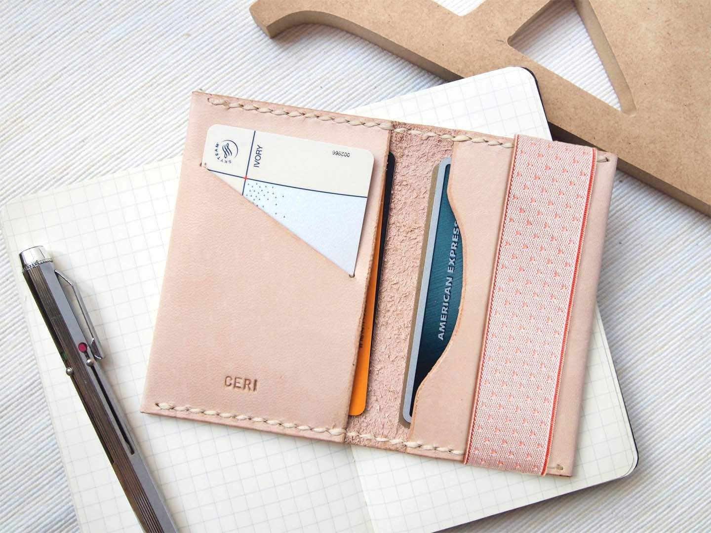 Personalized Card Holder with Elastic Band - Leather - Nude - Hand ...