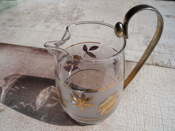 Vintage Libbey Glass Creamer Or Pitcher With Gold Autumn Leaf Pattern 1960s To 1970s