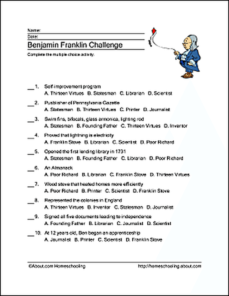 Benjamin Franklin Word Search, Crossword Puzzle and More