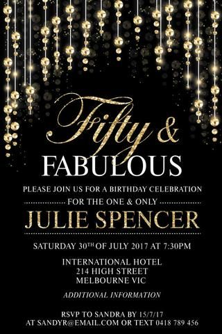 JAYNE: Adult birthday invitation card