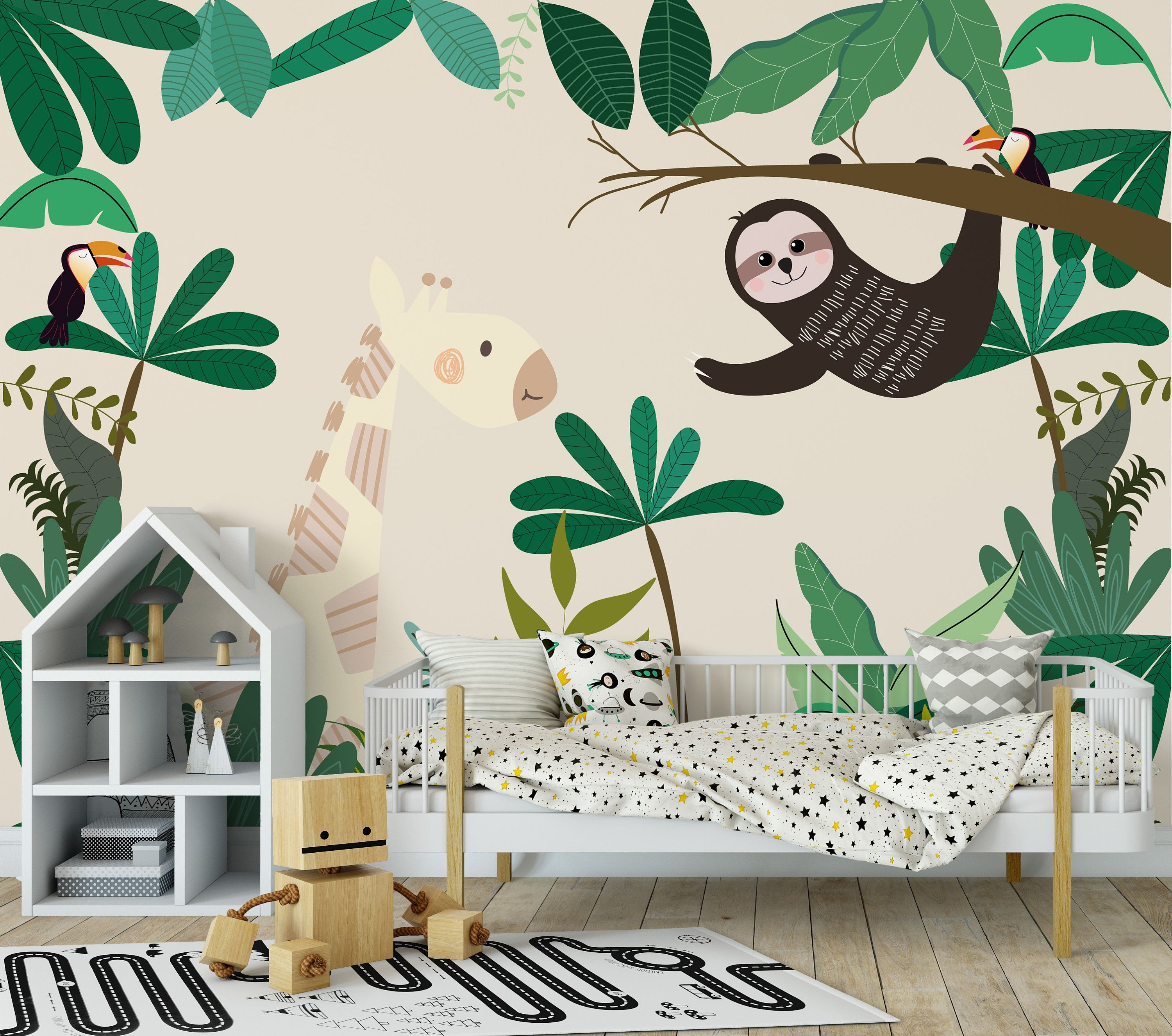Sloth Giraffe Toucan Tropical Botanical Jungle Forest Etsy In 2021 Kids Jungle Room Kids Room Wall Murals Themed Kids Room