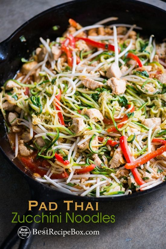 zucchini noodle pad thai recipe with chicken healthy pad