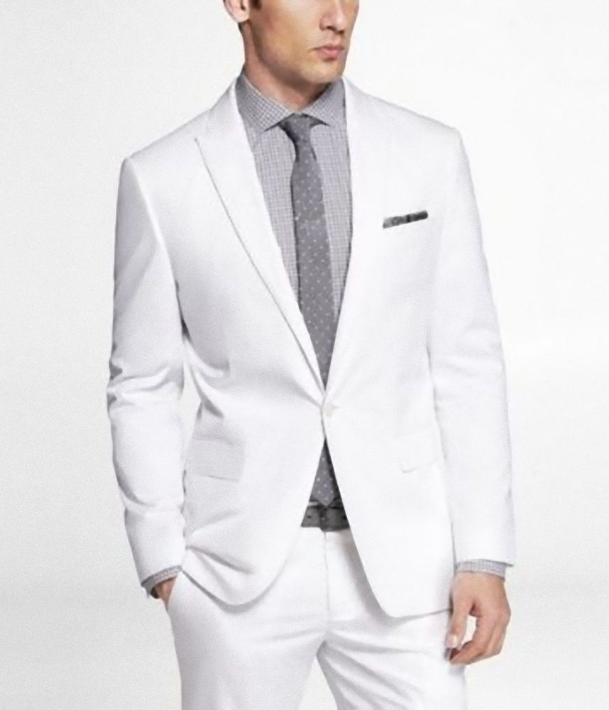 EXPRESS MENS WHITE LINEN COTTON PHOTOGRAPHER SLIM FITTED SUIT ...