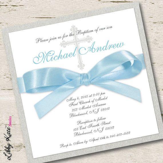 Baby Boy Baptism Invitation Christening Invitation Blue Baby boy