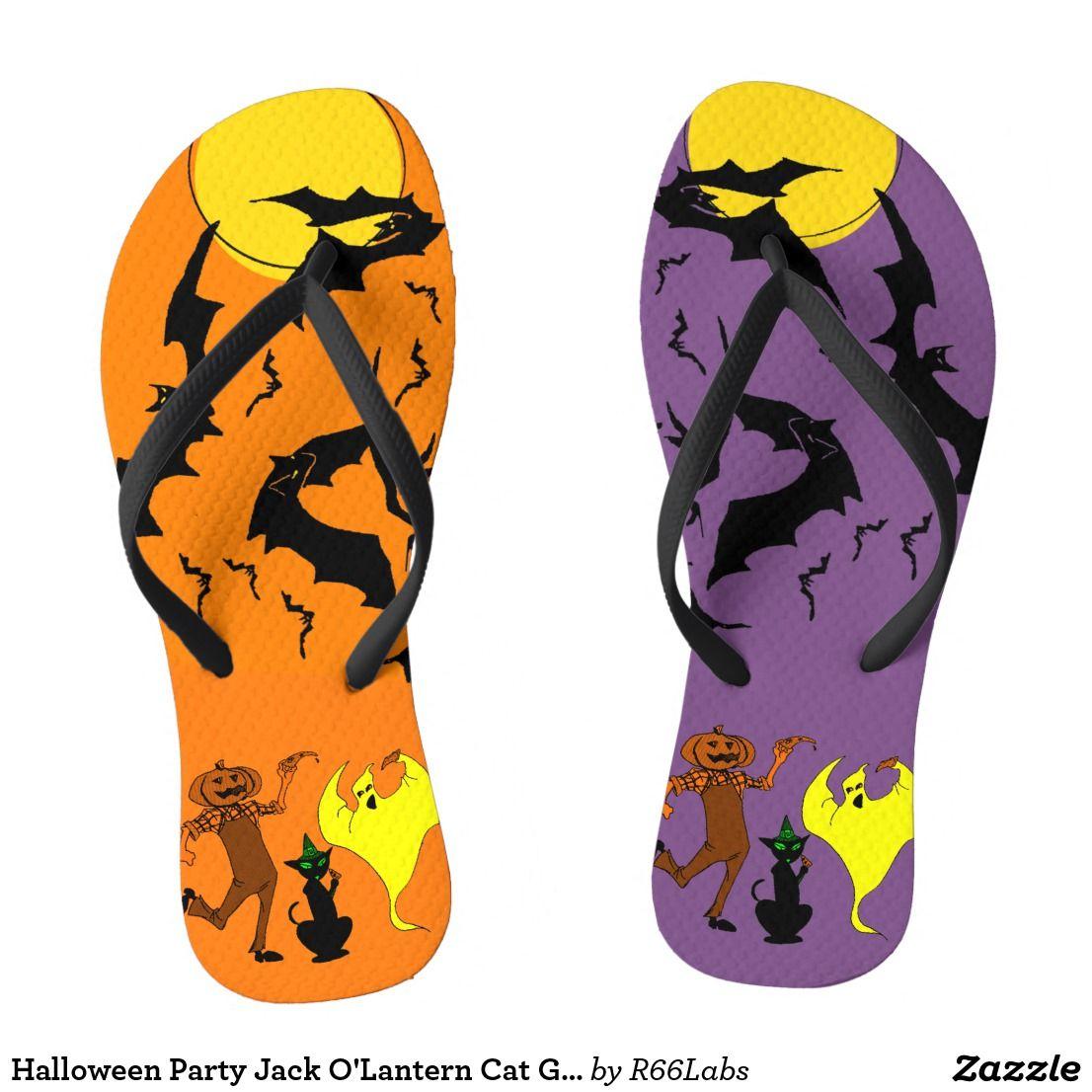 Halloween Party Jack O'Lantern Cat Ghost Bats Flip Flops