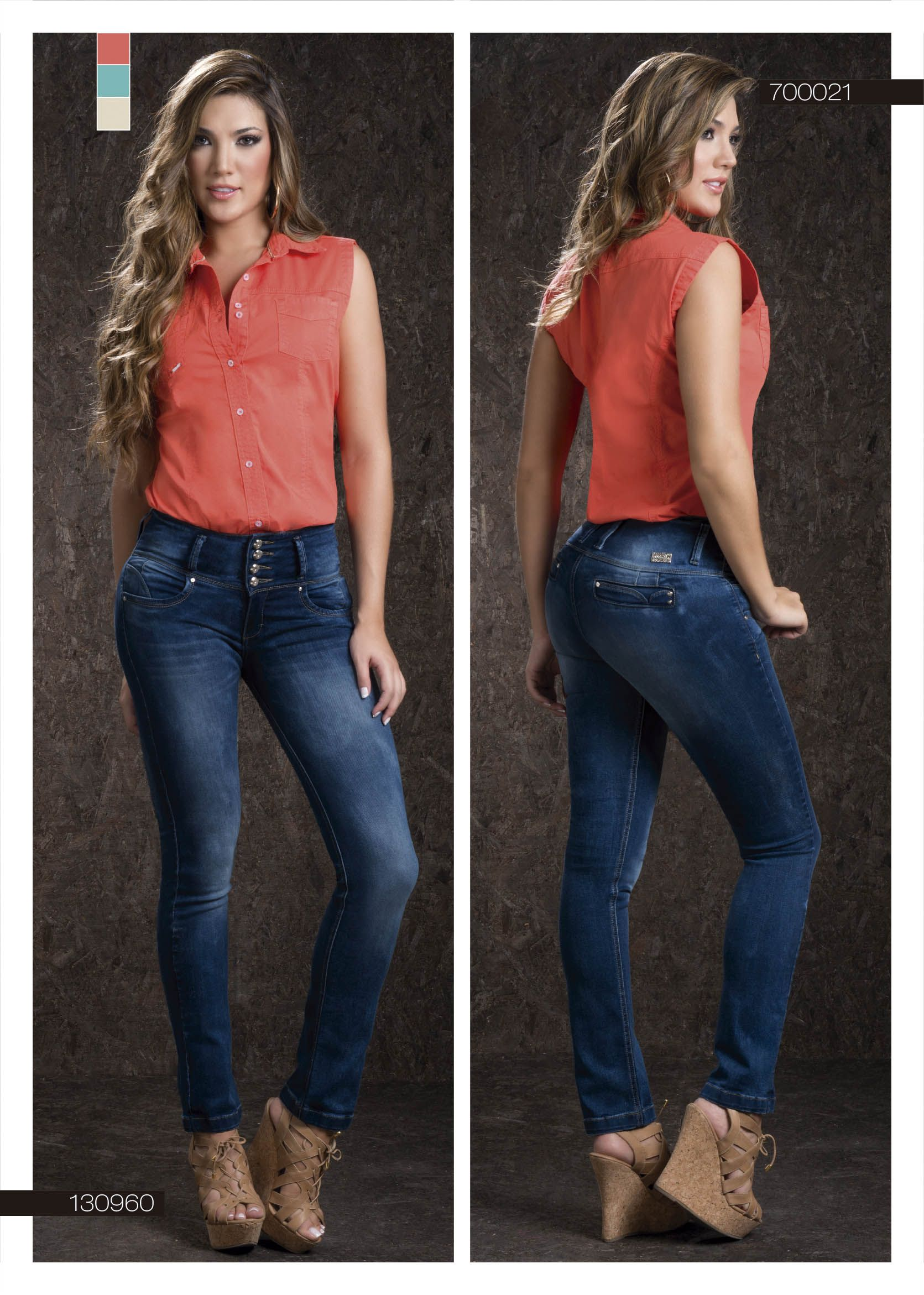 29f6c939d8496 jeans-para-dama-color-azul-bota-recta-blusa-dama-color-naranja- blue-jeans-for-women-  boot-straight- orange-blouse  fashion  women  ropademoda