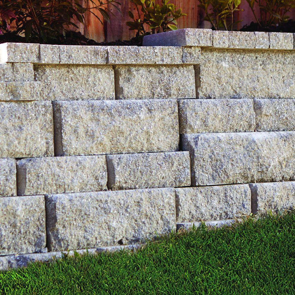Pavestone Rockwall 2 In X 4 25 In X 9 In Pecan Concrete Wall Cap 320 Pieces 89 5 Linear Ft Pallet 79924 The Home Depot Concrete Retaining Walls Landscaping Retaining Walls Retaining Wall