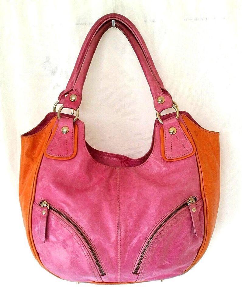 b878f88203 Roberta Gandolfi Leather Shoulder Bag Purse Hobo Satchel Pink Orange Zip  Handbag  RobertaGandolfi explore…