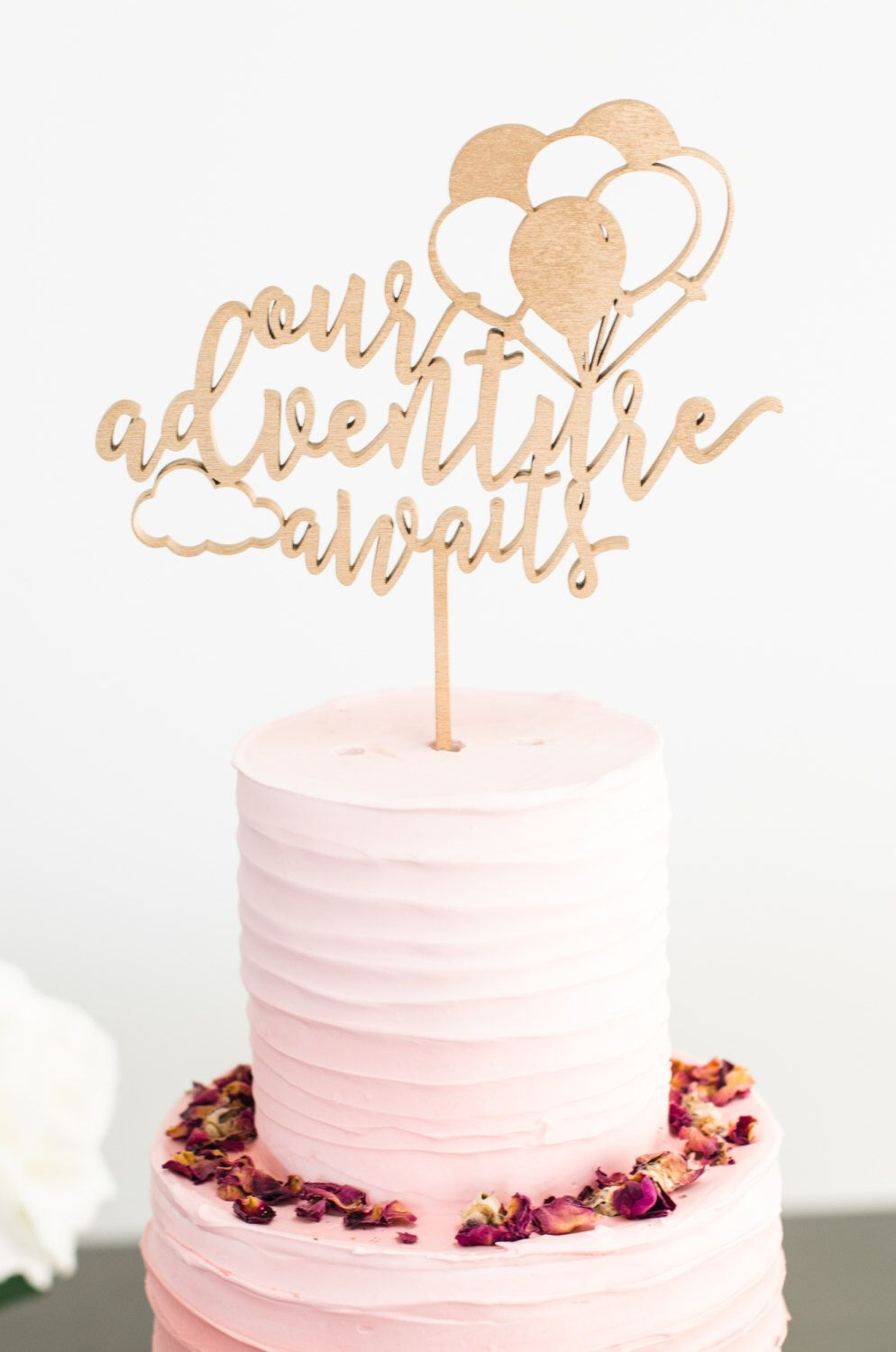 Our Adventure Awaits Gold Cake Topper