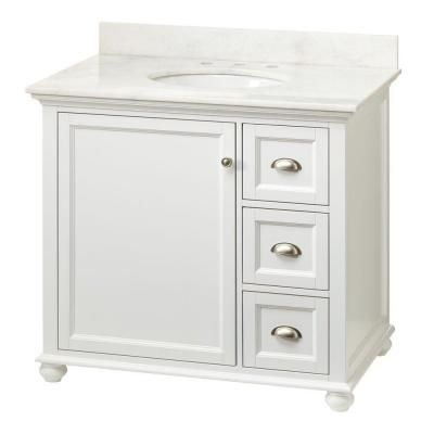 home decorators collection lamport 37 in vanity in white with marble vanity top in white - Behr Home Decorators Collection