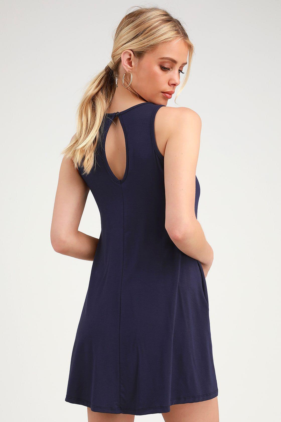 b92dfe9faa Fun Washed Navy Blue Dress - Blue Swing Dress - Blue Casual Dress