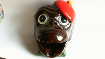 antique monkey head ashtray red beret perfect condition