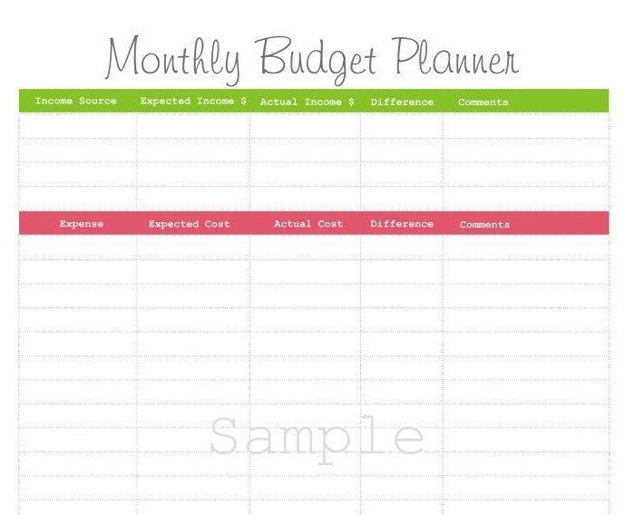 Monthly Budget Planner - PDF Printable Varios Pinterest