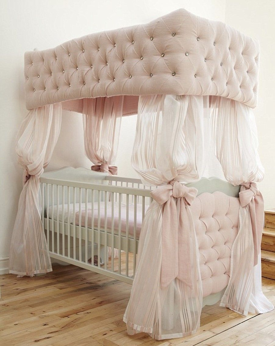 Baby cribs with canopy - Baby Nursery Gorgeous Vintage Baby Bedding Silk Nursery Curtain Pink Tufted Canopy Crib White Fitted Sheet