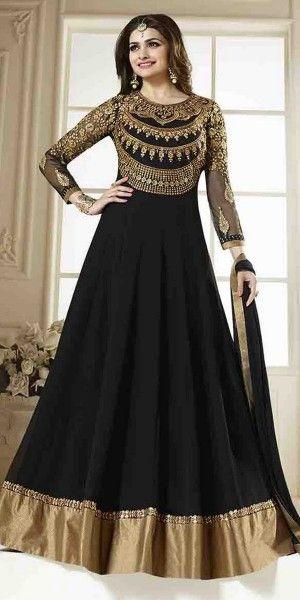 c2a840c1ab Lovable Black Georgette Anarkali Suit With Chiffon Dupatta ...