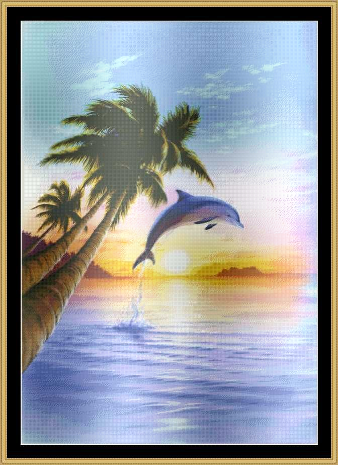 Morning Dolphin [MGL-25] - $16.00 : Mystic Stitch Inc, The fine art of counted cross stitch patterns
