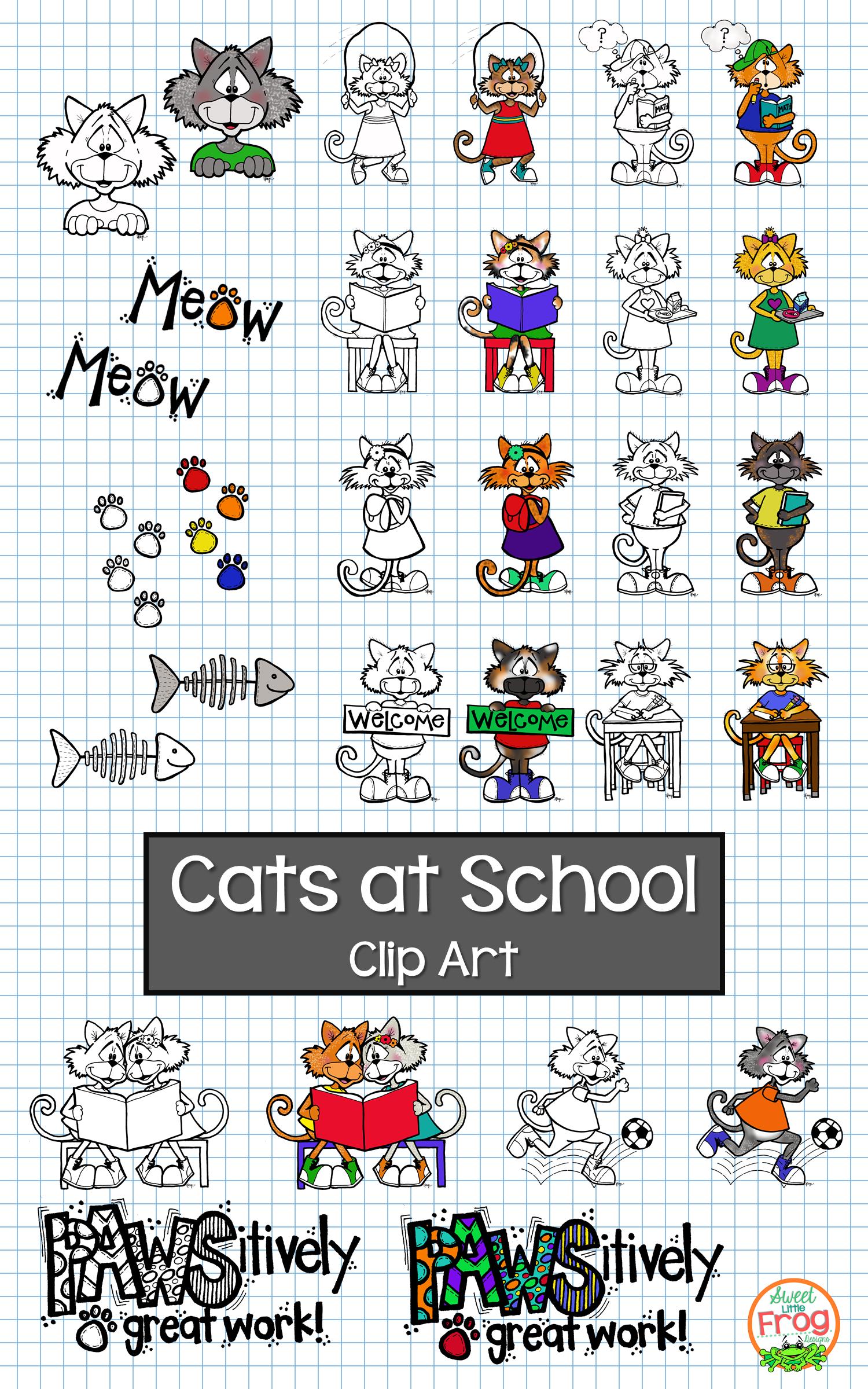Cats At School Clip Art