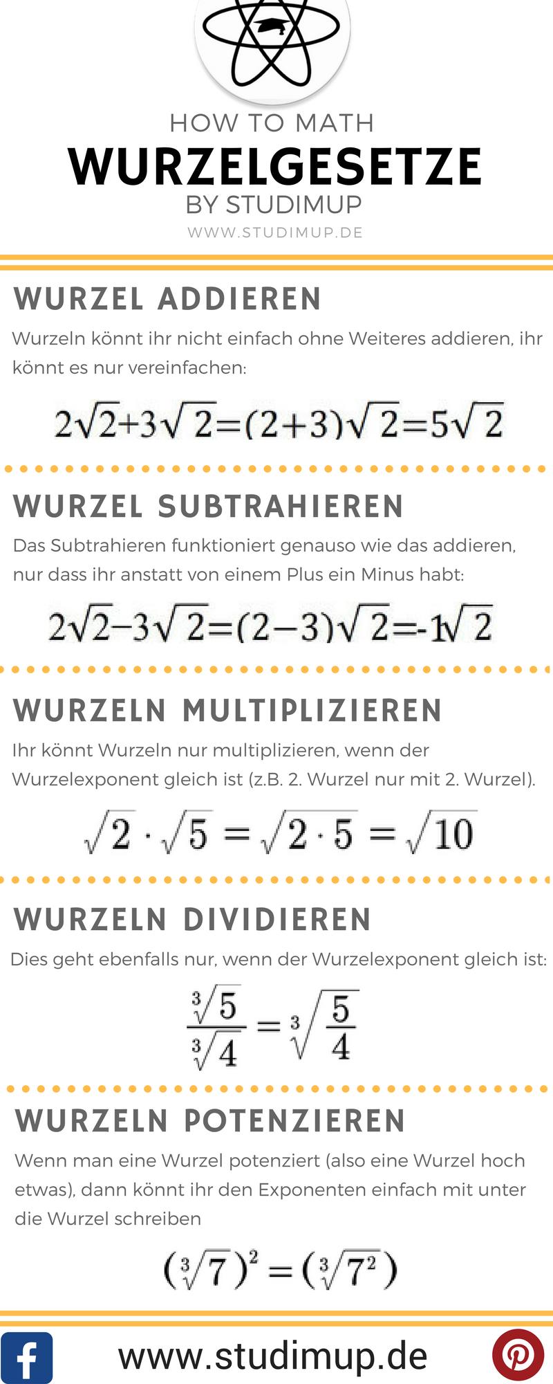 Wurzelgesetze im Mathe Spickzettel von Studimup. Einfach Mathe lernen. #math