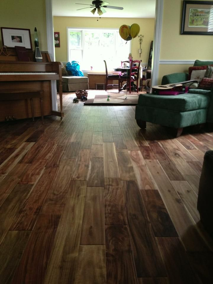 Hand scraped solid asian walnut acacia prefinished wood for Pre finished wood flooring