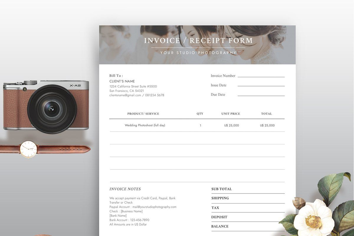 Invoice Receipt Form Ir004 Order Form Template Quotes About Photography Templates