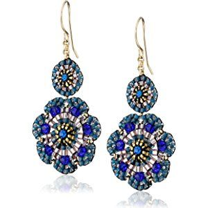 c78c9a8d03409 Miguel Ases Blue Quartz and Swarovski Flower Station Drop Earrings ...