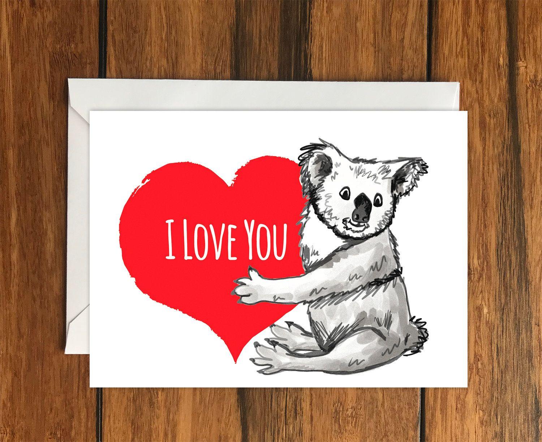 I Love You Koala Blank Original Greeting Card Size A6 Etsy Original Greeting Card Greeting Card Size Cat Cards