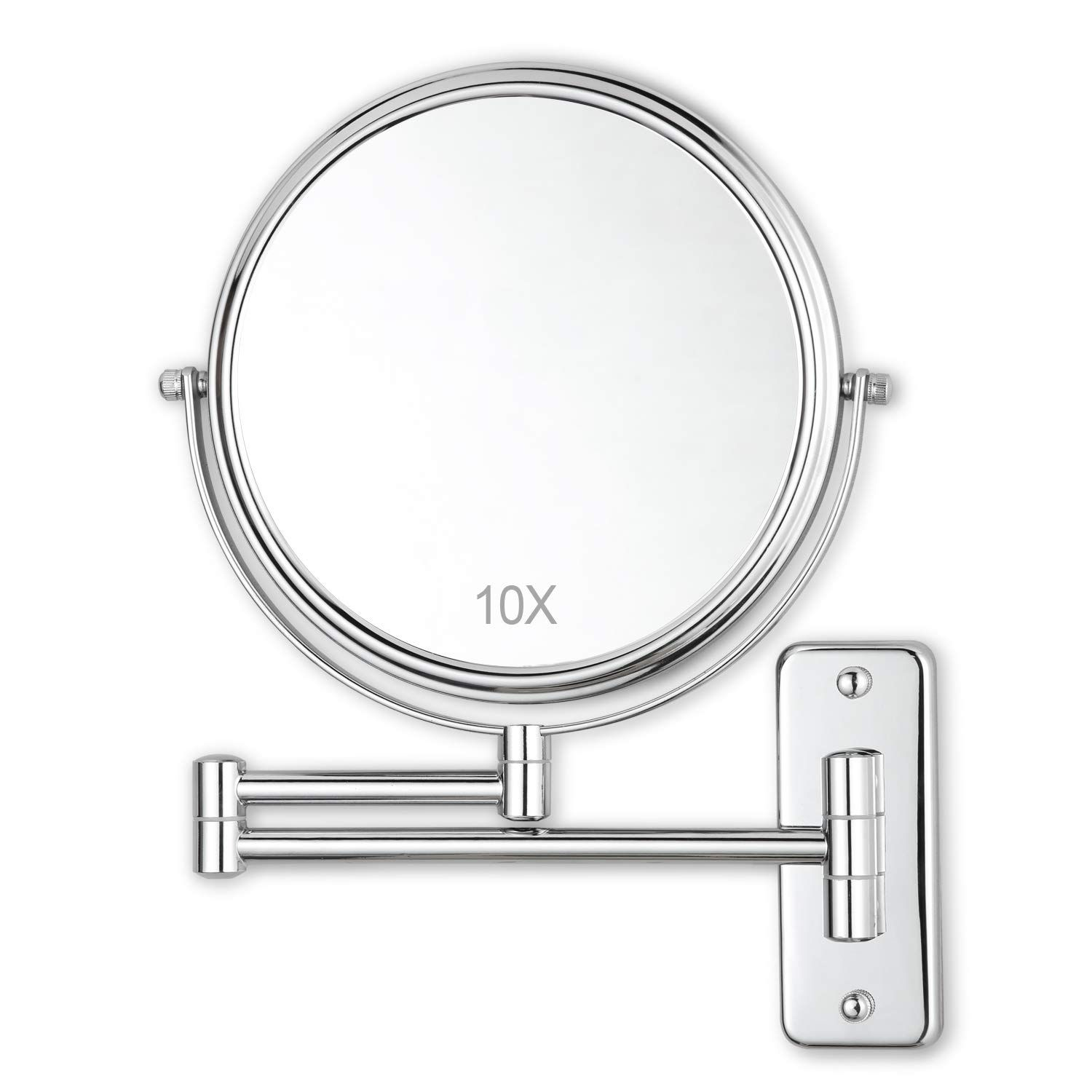 Decluttr 8 Inch Wall Mounted Makeup Mirror With 10x Magnification
