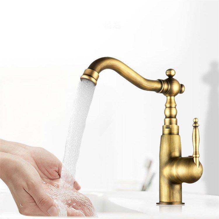 洗面蛇口バス水栓浴室蛇口冷熱混合水栓水道金具真鍮製ブロンズ色