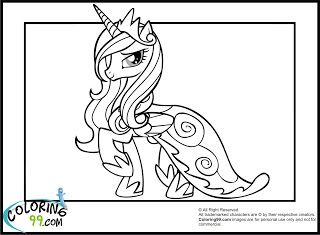 Princess Cadence Coloring Pages My Little Pony Pinterest