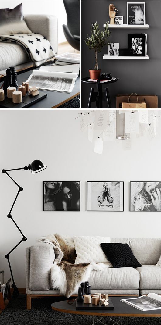 Interior design details, décor, lamp, sofa, black+grey+white colour - deko schwarz wei wohnzimmer
