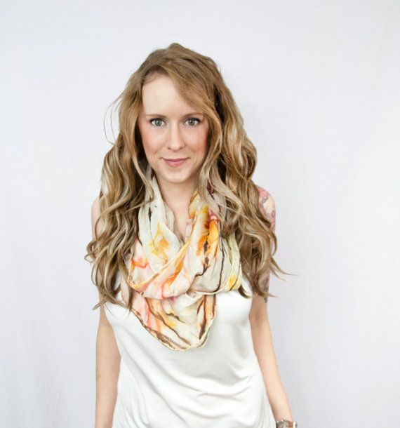 Silk Scarf Infinity Head Ivory Brown Orange by ForgottenCotton, $22.00 Trend Style Tie Dyed Vintage Spring Summer