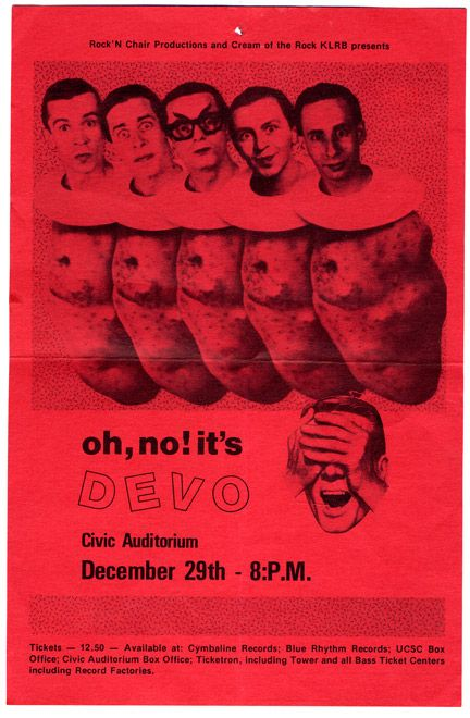 Devo Concert Poster Https Www Facebook Com Fromthewaybackmachine Music Flyer Rock And Roll Fantasy Concert Posters