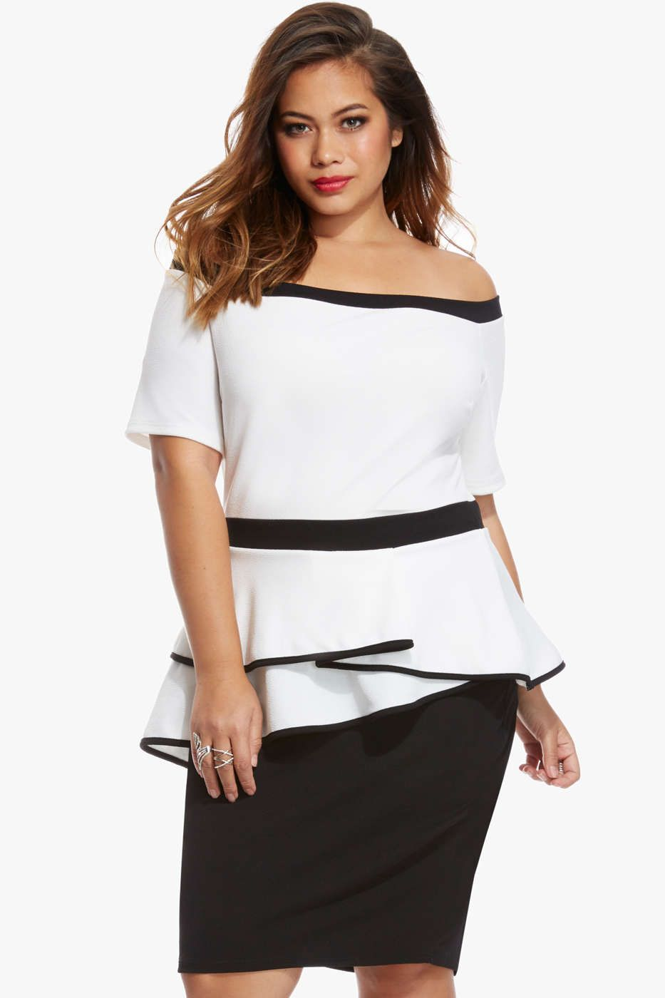 5855465bce Plus Size Balley Off Shoulder Peplum Dress in White - Fashion To Figure