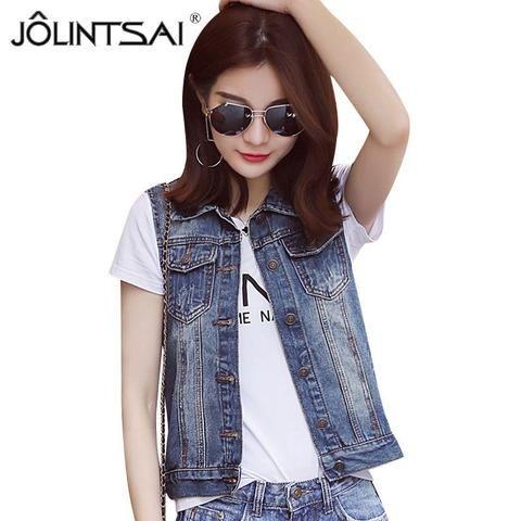 022c6afb9f79 Plus Size S-5XL 2017 New Summer Jacket Sleeveless Casual Slim Jeans Vest  Vintage Fashion Short Paragraph Denim Vest Women