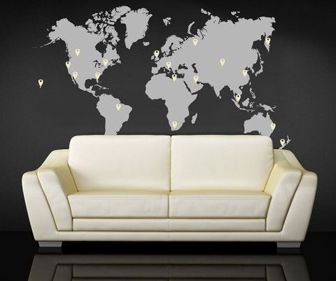 World map pin drops decal 873 wall decal sticker wall decals vinyl wall decal sticker world map with pin drops 873 stickerbrand wall art decals gumiabroncs Image collections