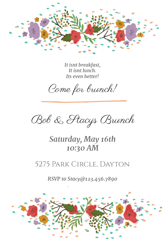 Floral Borders Brunch Brunch Lunch Invitation Template Free Greetings Island In 2021 Brunch Invitations Lunch Invitation Printable Invitation Templates