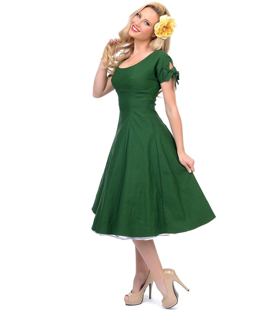 Unique Vintage Green Doris Stretch Swing Dress | Want ...
