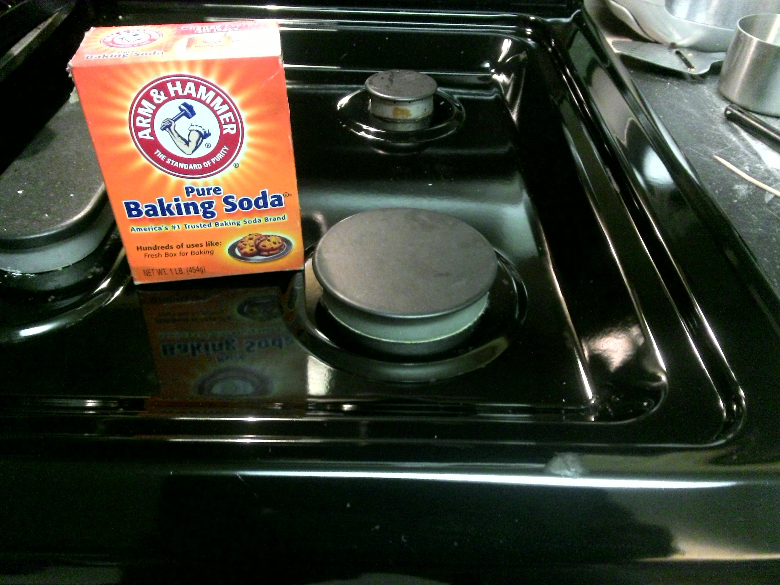 Problem: greasy burnt-on grim from using stove top. Solution
