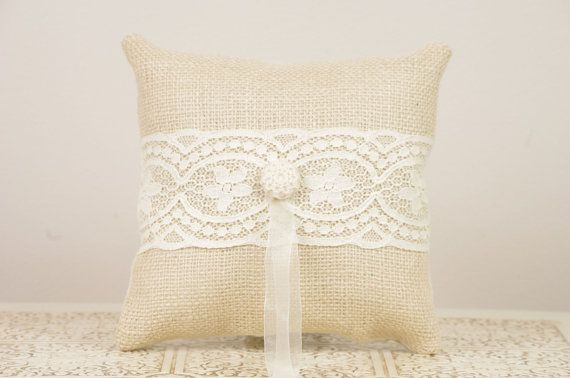 Burlap and Vintage Lace Ring Bearer Pillow by DuryeaPlaceDesigns on Etsy.