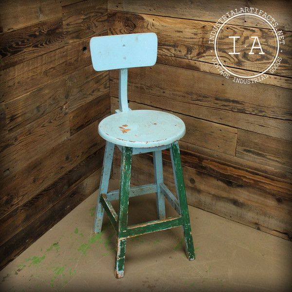 Vintage Industrial Blue Wooden Workbench Stool With Adjustable Seat Back