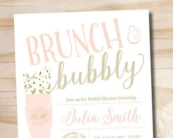 Brunch and bubbly bridal shower invitation confetti glitter bridal brunch and bubbly bridal shower invitation by paperheartcompany filmwisefo