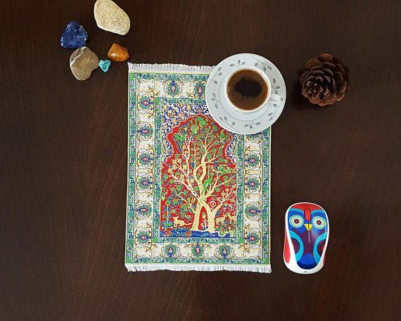 Gold Tree Mouse Pad Mini Persian Rug Magic Carpet Mat Desk Accessory Ethnic Boho Office Decor Gift For Trivet Hot